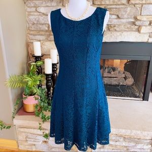 Connected Apparel Dark Teal Lace Dress